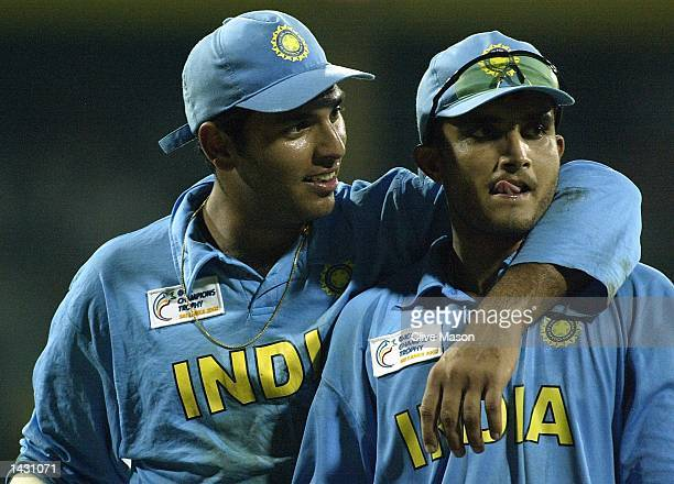Youvraj Singh and Saurav Ganguly of India celebrate after winning the ICC Champions Trophy semi final match between India and South Africa at the...