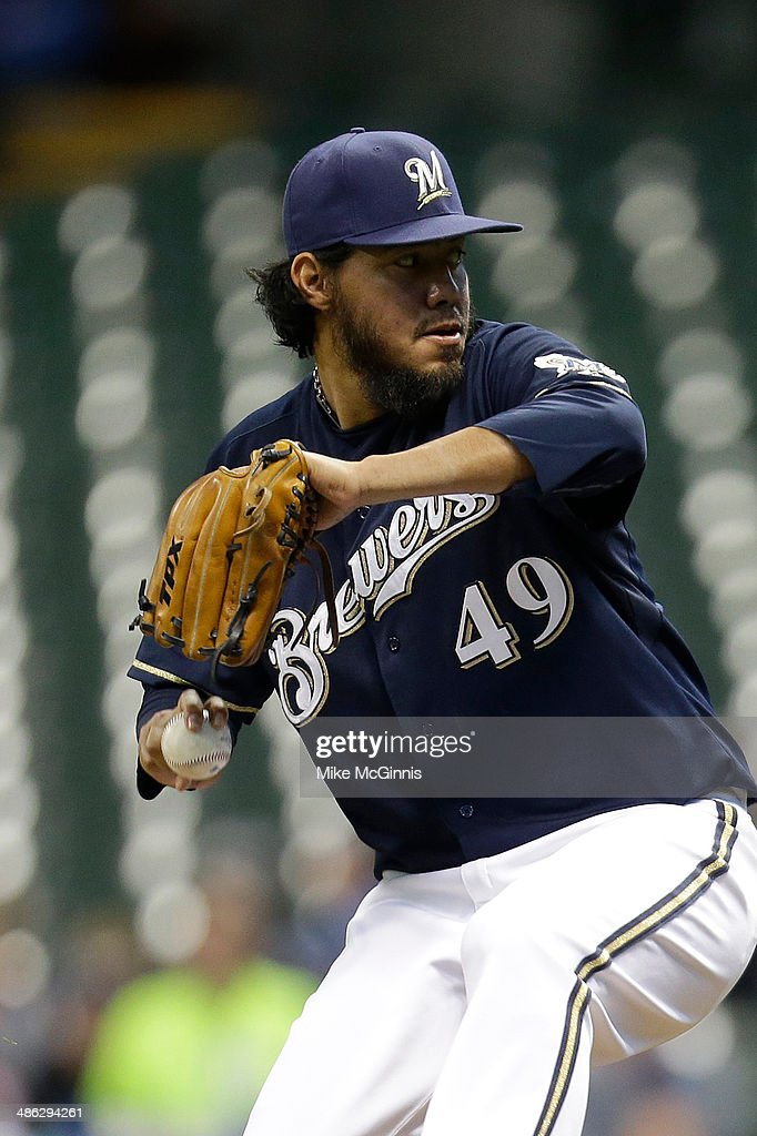 <a gi-track='captionPersonalityLinkClicked' href=/galleries/search?phrase=Yovani+Gallardo&family=editorial&specificpeople=757367 ng-click='$event.stopPropagation()'>Yovani Gallardo</a> #49 Milwaukee Brewers pitches during the game against the at Miller Park on April 22, 2014 in Milwaukee, Wisconsin.