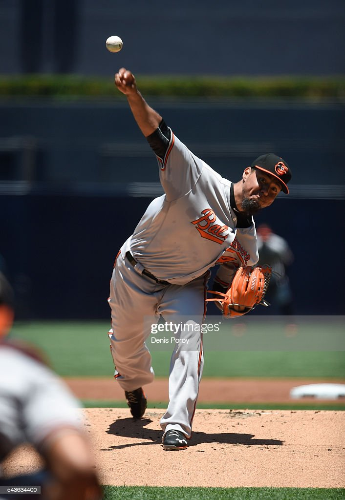 Yovani Gallardo #49 of the Baltimore Orioles pitches during the first inning of a baseball game against the San Diego Padres at PETCO Park on June 29, 2016 in San Diego, California.