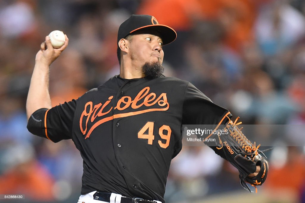 <a gi-track='captionPersonalityLinkClicked' href=/galleries/search?phrase=Yovani+Gallardo&family=editorial&specificpeople=757367 ng-click='$event.stopPropagation()'>Yovani Gallardo</a> #49 of the Baltimore Orioles pitches in the forth inning during a baseball game against the Tampa Bay Rays at Oriole Park at Camden Yards on June 24, 2016 in Baltimore, Maryland.