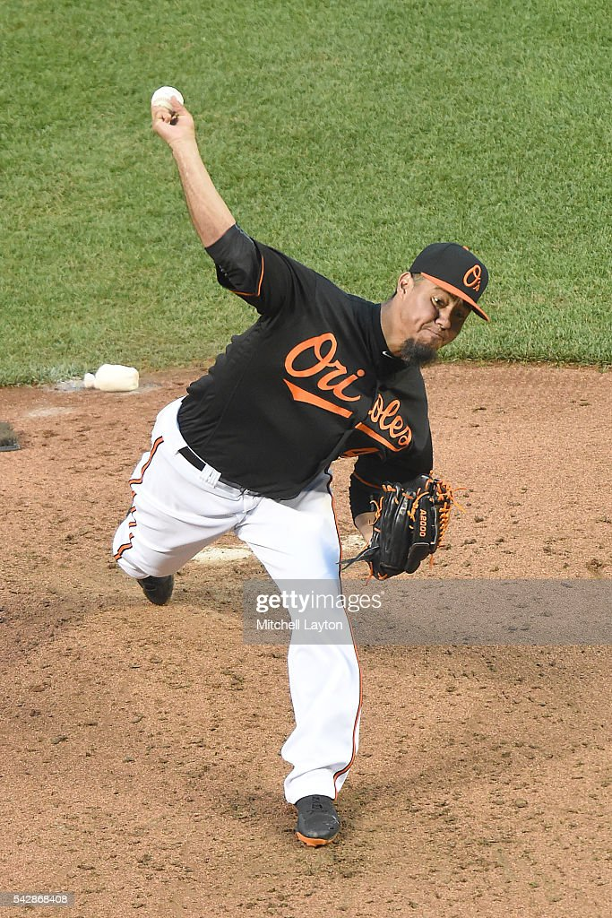<a gi-track='captionPersonalityLinkClicked' href=/galleries/search?phrase=Yovani+Gallardo&family=editorial&specificpeople=757367 ng-click='$event.stopPropagation()'>Yovani Gallardo</a> #49 of the Baltimore Orioles pitches in the second inning during a baseball game against the Tampa Bay Rays at Oriole Park at Camden Yards on June 24, 2016 in Baltimore, Maryland.