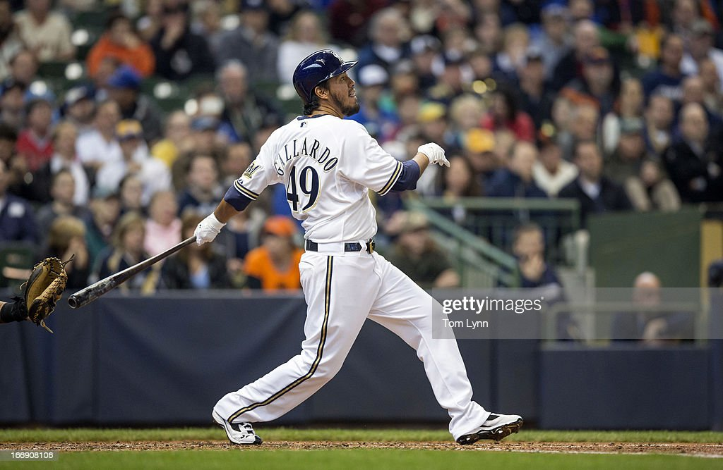 <a gi-track='captionPersonalityLinkClicked' href=/galleries/search?phrase=Yovani+Gallardo&family=editorial&specificpeople=757367 ng-click='$event.stopPropagation()'>Yovani Gallardo</a> #49 of the Milwaukee Brewers connects for a two run home run off of Matt Cain #18 of the San Francisco Giants in the second inning at Miller Park on April 18, 2013 in Milwaukee, Wisconsin.