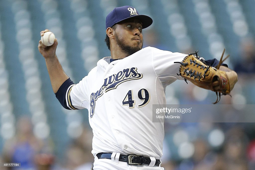 Yovani Gallardo #49 of the Milwaukee Brewers pitches during the top of the first inning against the Washington Nationals at Miller Park on June 24, 2014 in Milwaukee, Wisconsin.