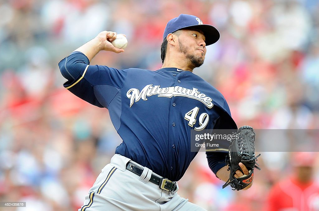 <a gi-track='captionPersonalityLinkClicked' href=/galleries/search?phrase=Yovani+Gallardo&family=editorial&specificpeople=757367 ng-click='$event.stopPropagation()'>Yovani Gallardo</a> #49 of the Milwaukee Brewers pitches in the first inning against the Washington Nationals at Nationals Park on July 20, 2014 in Washington, DC.