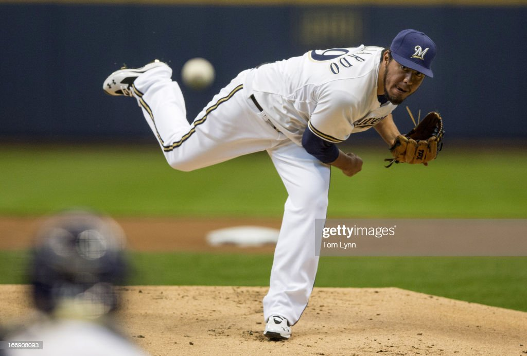 <a gi-track='captionPersonalityLinkClicked' href=/galleries/search?phrase=Yovani+Gallardo&family=editorial&specificpeople=757367 ng-click='$event.stopPropagation()'>Yovani Gallardo</a> #49 of the Milwaukee Brewers pitches to a San Francisco Giants batter in the first inning at Miller Park on April 18, 2013 in Milwaukee, Wisconsin.