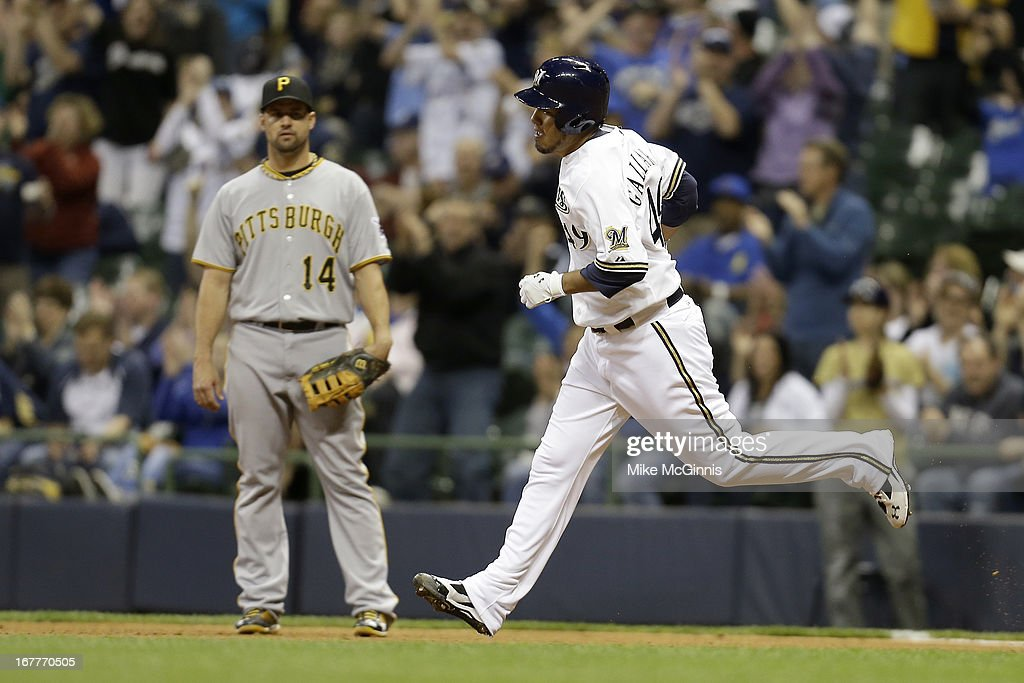 <a gi-track='captionPersonalityLinkClicked' href=/galleries/search?phrase=Yovani+Gallardo&family=editorial&specificpeople=757367 ng-click='$event.stopPropagation()'>Yovani Gallardo</a> #49 of the Milwaukee Brewers runs the bases after hitting a solo home run in the bottom of the fourth inning against the Pittsburgh Pirates at Miller Park on April 29, 2013 in Milwaukee, Wisconsin.