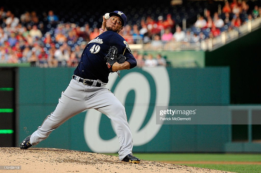 <a gi-track='captionPersonalityLinkClicked' href=/galleries/search?phrase=Yovani+Gallardo&family=editorial&specificpeople=757367 ng-click='$event.stopPropagation()'>Yovani Gallardo</a> #49 of the Milwaukee Brewers throws a pitch during a game against the Washington Nationals at Nationals Park on July 1, 2013 in Washington, DC.
