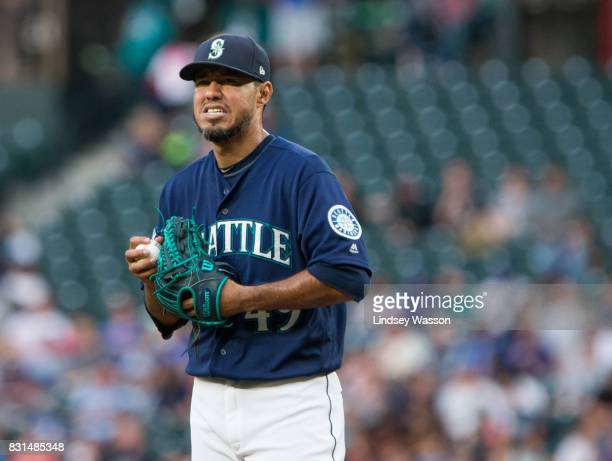 Yovani Gallardo of the Seattle Mariners reacts during the second inning in which he gave up six runs to the Baltimore Orioles at Safeco Field on...