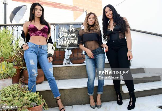 Yovanna Ventura Serayah and Jordyn Woods attend True Religion FIT event with Nylon at Ysabel on August 8 2017 in West Hollywood California