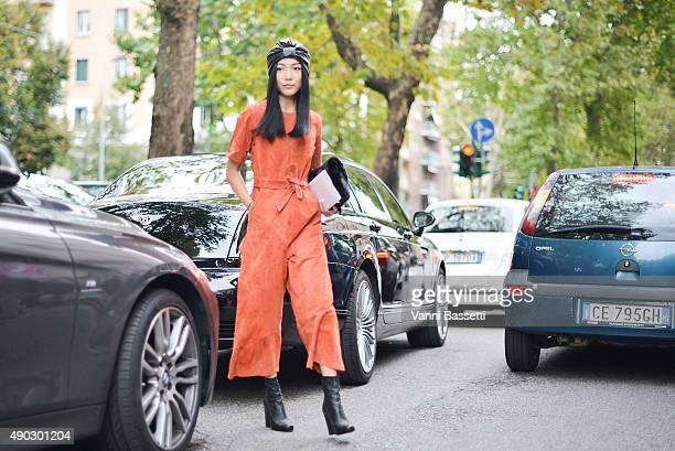 Yoyo Cao arrives at the Marni show wearing a vintage dress during the Milan Fashion Week Spring/Summer 16 on September 27 2015 in Milan Italy