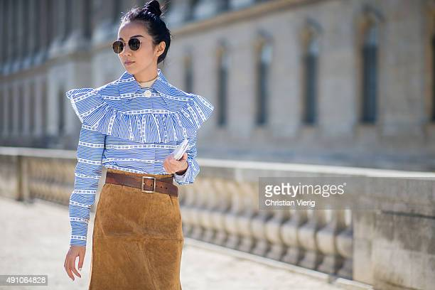 Yoyo Cao before Dior during the Paris Fashion Week Womenswear Spring/Summer 2016 on October 2 2015 in Paris France
