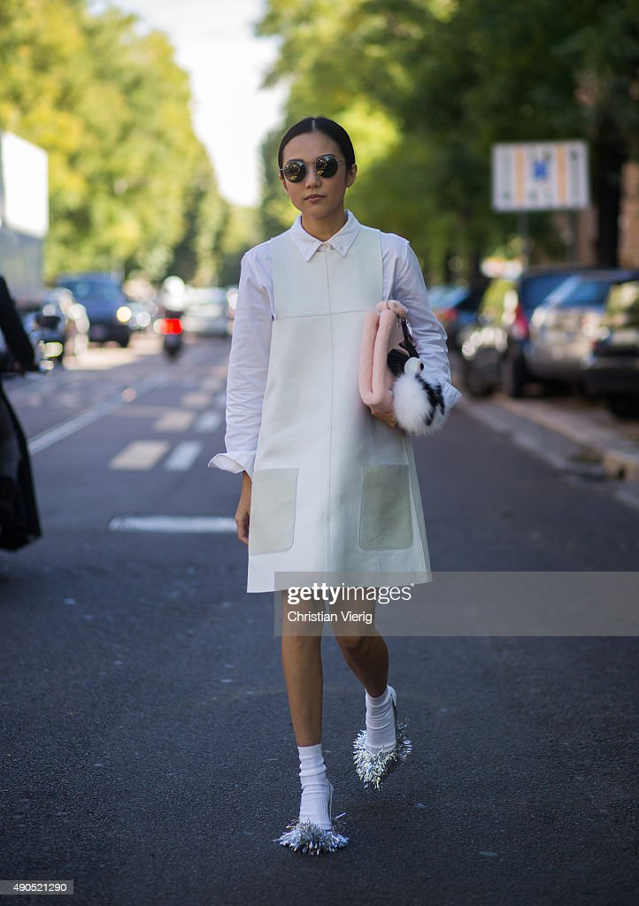 Yoyo Cao during Milan Fashion Week Spring/Summer 16 on September 24 2015 in Milan Italy