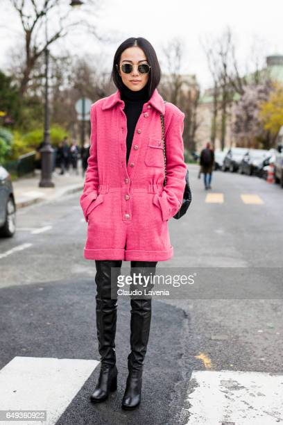 Yoyo Cao is seen in the streets of Paris before the Chanel show during Paris Fashion Week Womenswear Fall/Winter 2017/2018 on March 7 2017 in Paris...