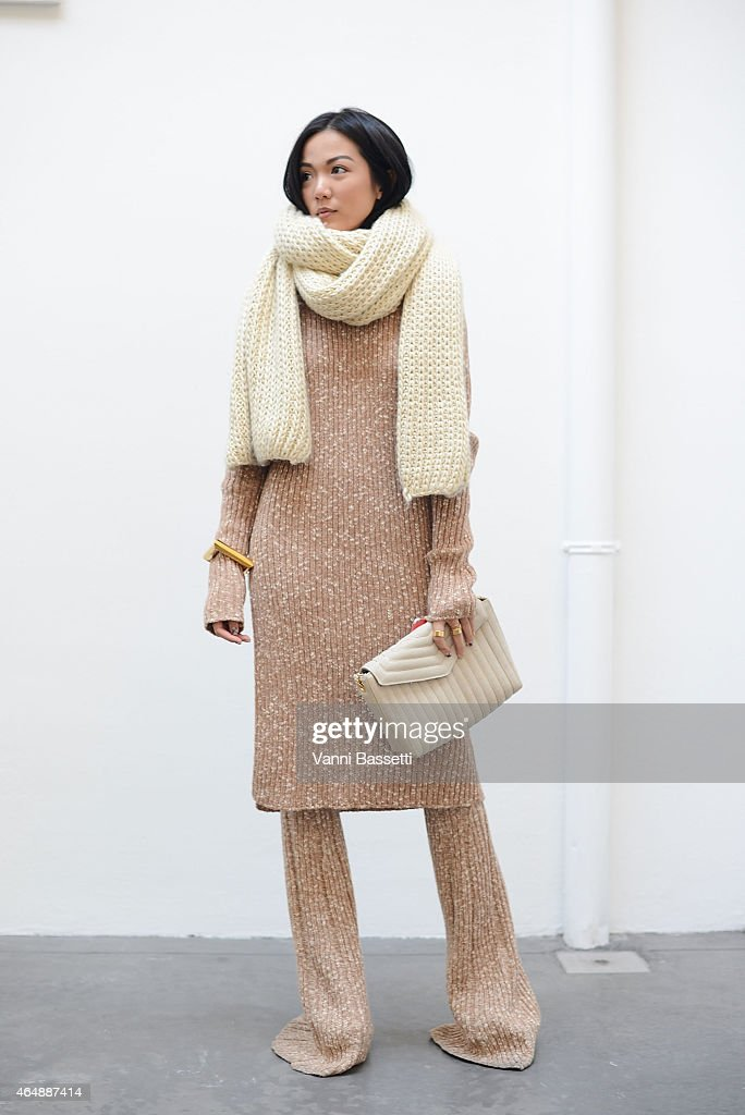 Yoyo Cao poses in Celine on March 1 2015 in Milan Italy