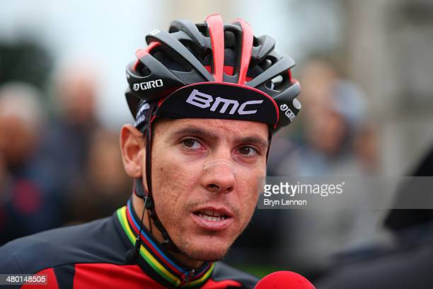 YPhilippe Gilbert of Belgium and the BMC Racing Team speaks to the media at the start of the 2014 294 km edition of Milan San Remo on March 23 2014...