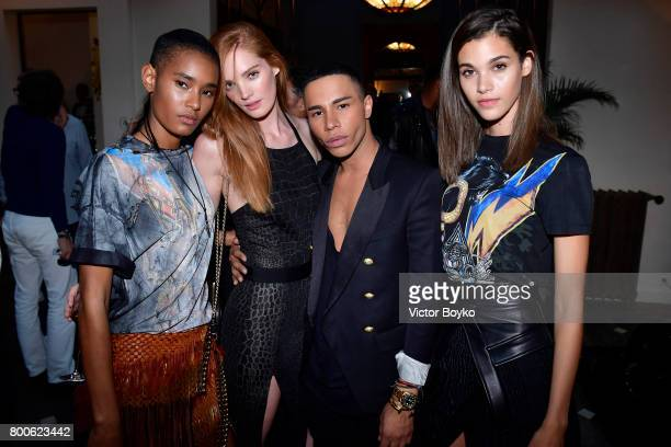 Ysaunny Brito Alexina Graham Olivier Rousteing and Pauline Hoarau attend the Balmain After Party during Paris Fashion Week on June 24 2017 in Paris...
