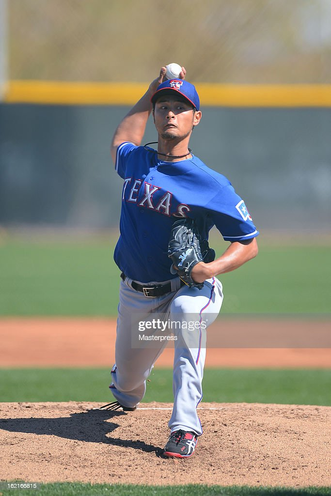 Yu Darvish of Texas Rangers throws during Texas Rangers Spring Training at Surprize Stadium on February 18, 2013 in Surprize, Arizona.