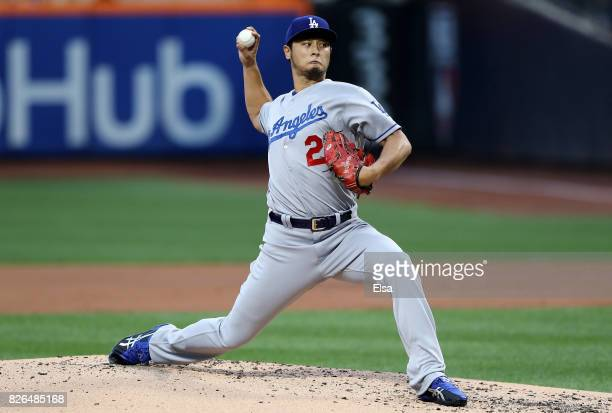 Yu Darvish of the Los Angeles Dodgers delivers his first pitch of the game against the New York Mets on August 4 2017 at Citi Field in the Flushing...