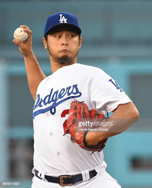 Yu Darvish of the Los Angeles Dodgers during the game against the Chicago White Sox on August 16 2017 in Los Angeles California