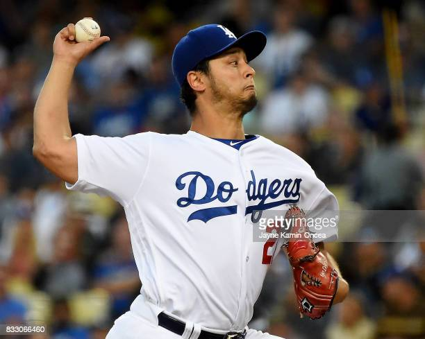 Yu Darvish of the Los Angeles Dodgers in the first inning of the game against the against the Chicago White Sox at Dodger Stadium on August 16 2017...