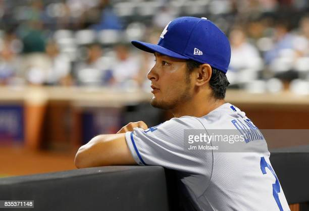 Yu Darvish of the Los Angeles Dodgers looks on against the New York Mets at Citi Field on August 6 2017 in the Flushing neighborhood of the Queens...