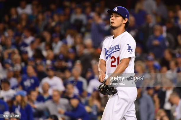 Yu Darvish of the Los Angeles Dodgers looks on during the second inning against the Houston Astros in game seven of the 2017 World Series at Dodger...