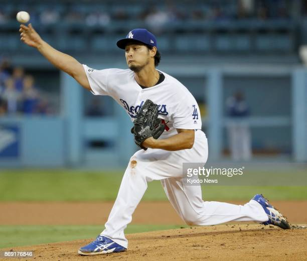 Yu Darvish of the Los Angeles Dodgers pitches against the Houston Astros in Game 7 of the World Series at Dodger Stadium on Nov 1 2017 ==Kyodo
