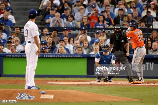 Yu Darvish of the Los Angeles Dodgers pitches against Yuli Gurriel of the Houston Astros during the first inning in game seven of the 2017 World...