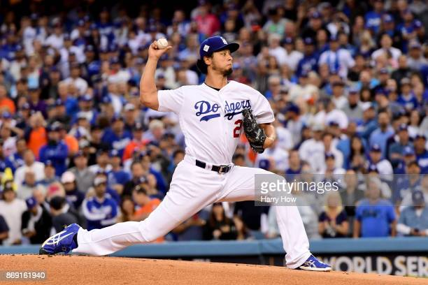 Yu Darvish of the Los Angeles Dodgers pitches during the first inning against the Houston Astros in game seven of the 2017 World Series at Dodger...