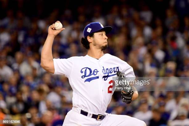 Yu Darvish of the Los Angeles Dodgers pitches during the second inning against the Houston Astros in game seven of the 2017 World Series at Dodger...