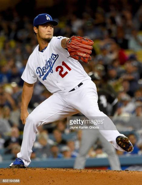 Yu Darvish of the Los Angeles Dodgers pitches in the third inning of the game against the against the Chicago White Sox at Dodger Stadium on August...