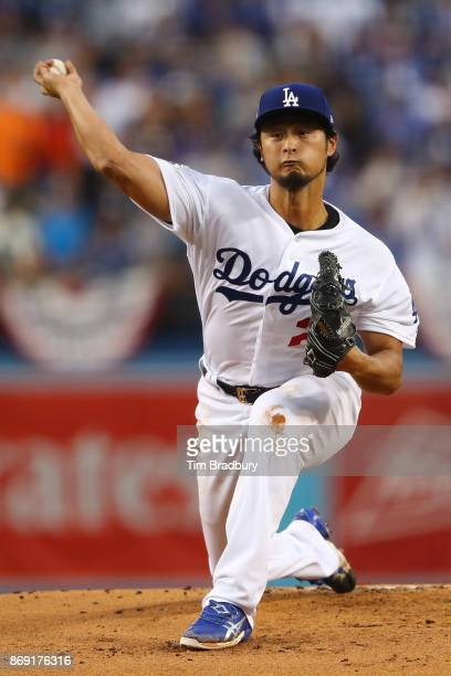 Yu Darvish of the Los Angeles Dodgers throws a pitch during the first inning against the Houston Astros in game seven of the 2017 World Series at...