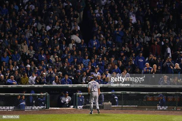 Yu Darvish of the Los Angeles Dodgers walks off the field after being relieved in the seventh inning against the Chicago Cubs during game three of...