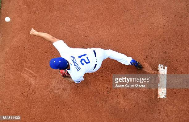 Yu Darvish of the Los Angeles Dodgers warms up in the bullpen before the game against the Chicago White Sox at Dodger Stadium on August 16 2017 in...