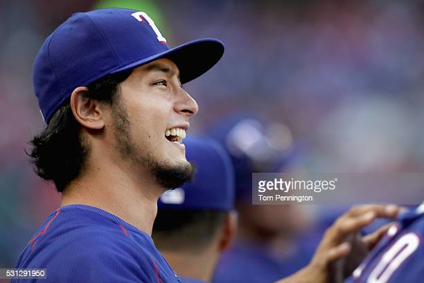 Yu Darvish of the Texas Rangers looks on as the Texas Rangers take on the Toronto Blue Jays in the top of the first inning at Globe Life Park in...