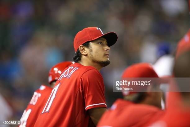 Yu Darvish of the Texas Rangers looks on from the dugout in the eighth inning against the Baltimore Orioles at Globe Life Park in Arlington on June 4...