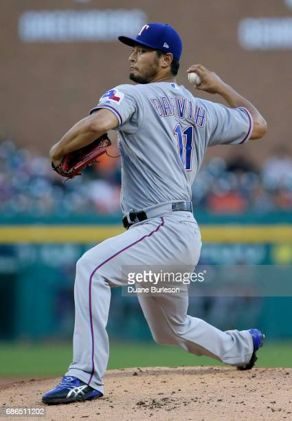 Yu Darvish of the Texas Rangers pitches against the Detroit Tigers during the first inning at Comerica Park on May 21 2017 in Detroit Michigan