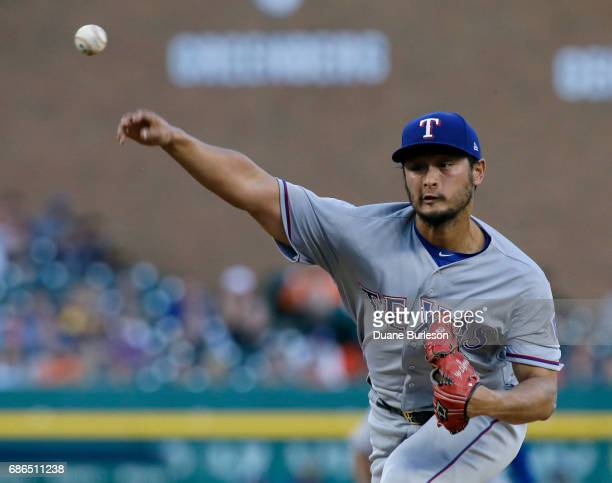 Yu Darvish of the Texas Rangers pitches against the Detroit Tigers during the second inning at Comerica Park on May 21 2017 in Detroit Michigan