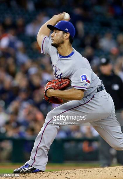 Yu Darvish of the Texas Rangers pitches against the Detroit Tigers during the third inning at Comerica Park on May 21 2017 in Detroit Michigan