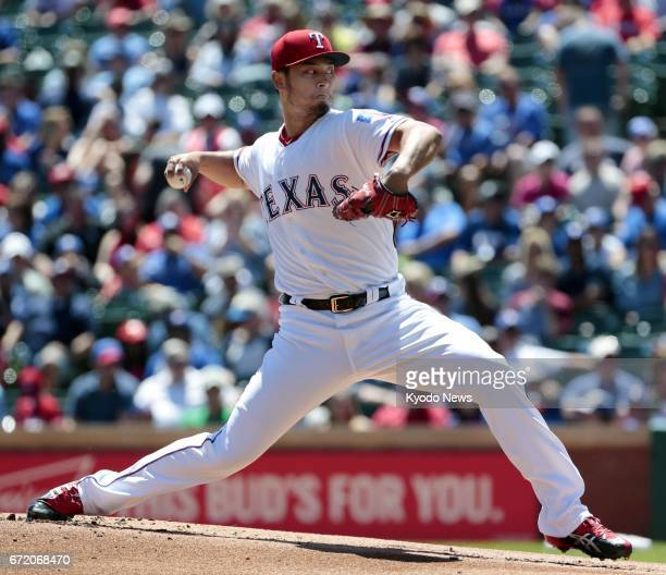 Yu Darvish of the Texas Rangers pitches against the Kansas City Royals at Globe Life Park in Arlington Texas on April 23 2017 Darvish picked up his...