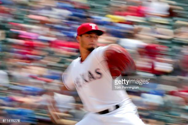 Yu Darvish of the Texas Rangers pitches against the Los Angeles Angels in the top of the fourth inning at Globe Life Park in Arlington on July 9 2017...