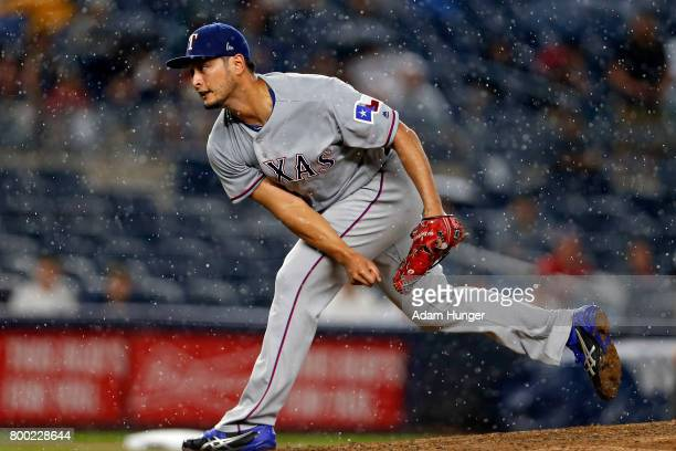 Yu Darvish of the Texas Rangers pitches against the New York Yankees during the sixth inning at Yankee Stadium on June 23 2017 in the Bronx borough...