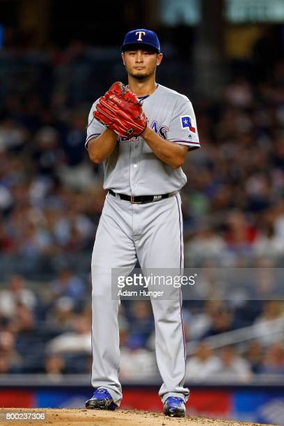 Yu Darvish of the Texas Rangers pitches against the New York Yankees during the second inning at Yankee Stadium on June 23 2017 in the Bronx borough...