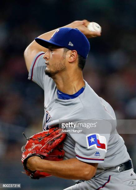 Yu Darvish of the Texas Rangers pitches against the New York Yankees during the first inning at Yankee Stadium on June 23 2017 in the Bronx borough...