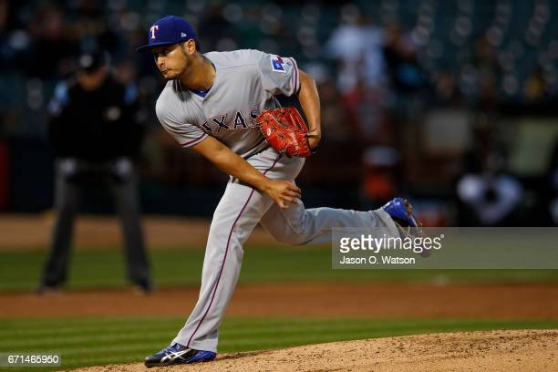 Yu Darvish of the Texas Rangers pitches against the Oakland Athletics during the third inning at the Oakland Coliseum on April 18 2017 in Oakland...