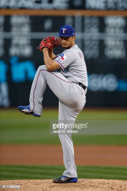 Yu Darvish of the Texas Rangers pitches against the Oakland Athletics during the second inning at the Oakland Coliseum on April 18 2017 in Oakland...