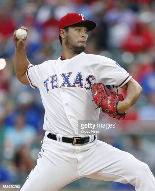 Yu Darvish of the Texas Rangers pitches against the Philadelphia Phillies at Globe Life Park in Arlington Texas on May 16 2017 ==Kyodo