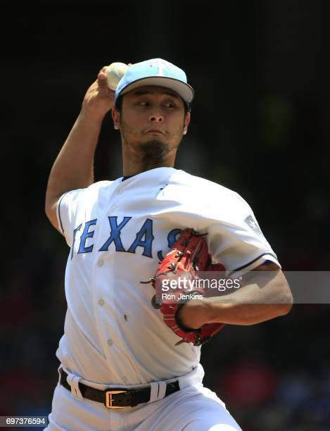 Yu Darvish of the Texas Rangers pitches against the Seattle Mariners during the first inning at Globe Life Park in Arlington on June 18 2017 in...