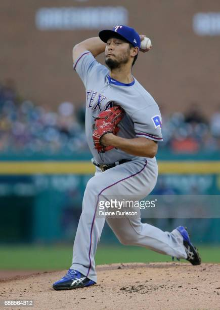 Yu Darvish of the Texas Rangers pitches during the first inning of a game against the Detroit Tigers at Comerica Park on May 21 2017 in Detroit...