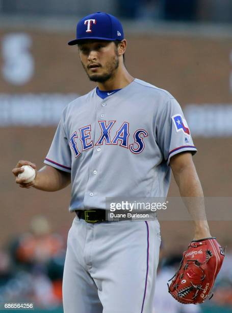 Yu Darvish of the Texas Rangers prepares to pitch during the first inning of a game against the Detroit Tigers at Comerica Park on May 21 2017 in...